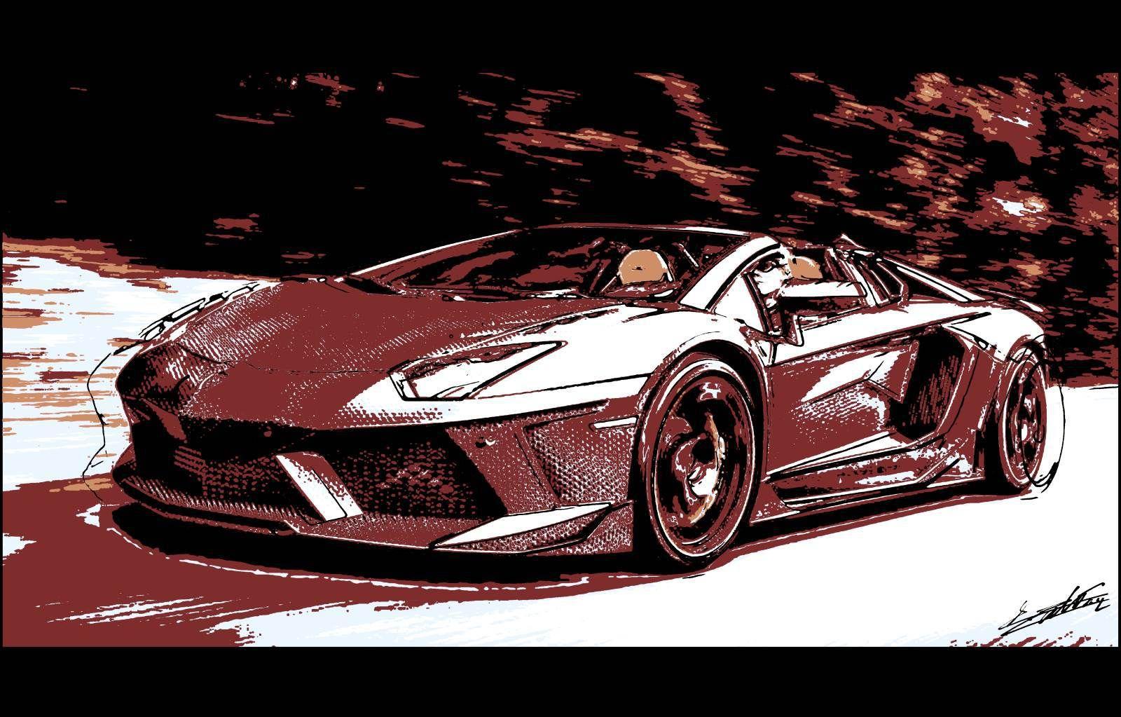 Tableau Lamborghini Voiture De Sport Luxe Supercar Peinture Pop