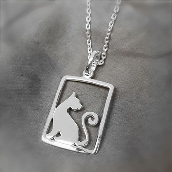 cat in a frame silver necklace