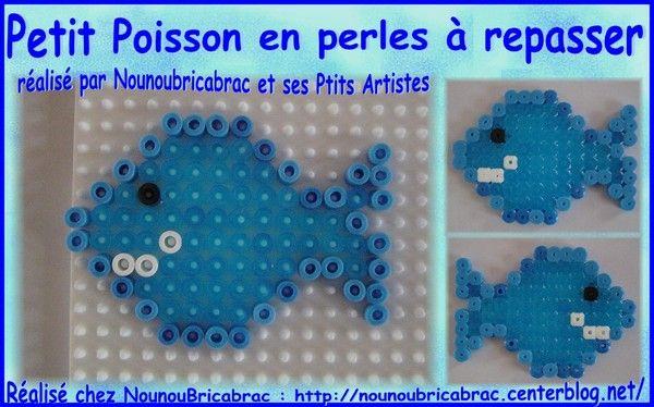 Petit poisson en perles repasser mod le hama pinterest perle a repasser modeles - Modele poisson ...