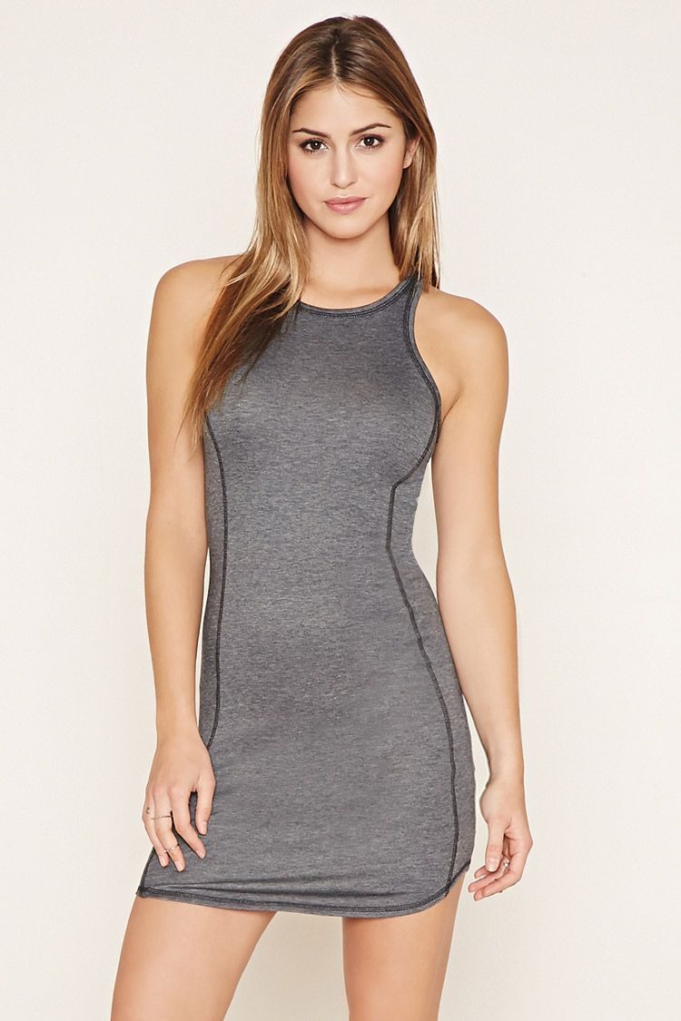 A heathered knit bodycon dress with a sleeveless cut, a round neckline, and…