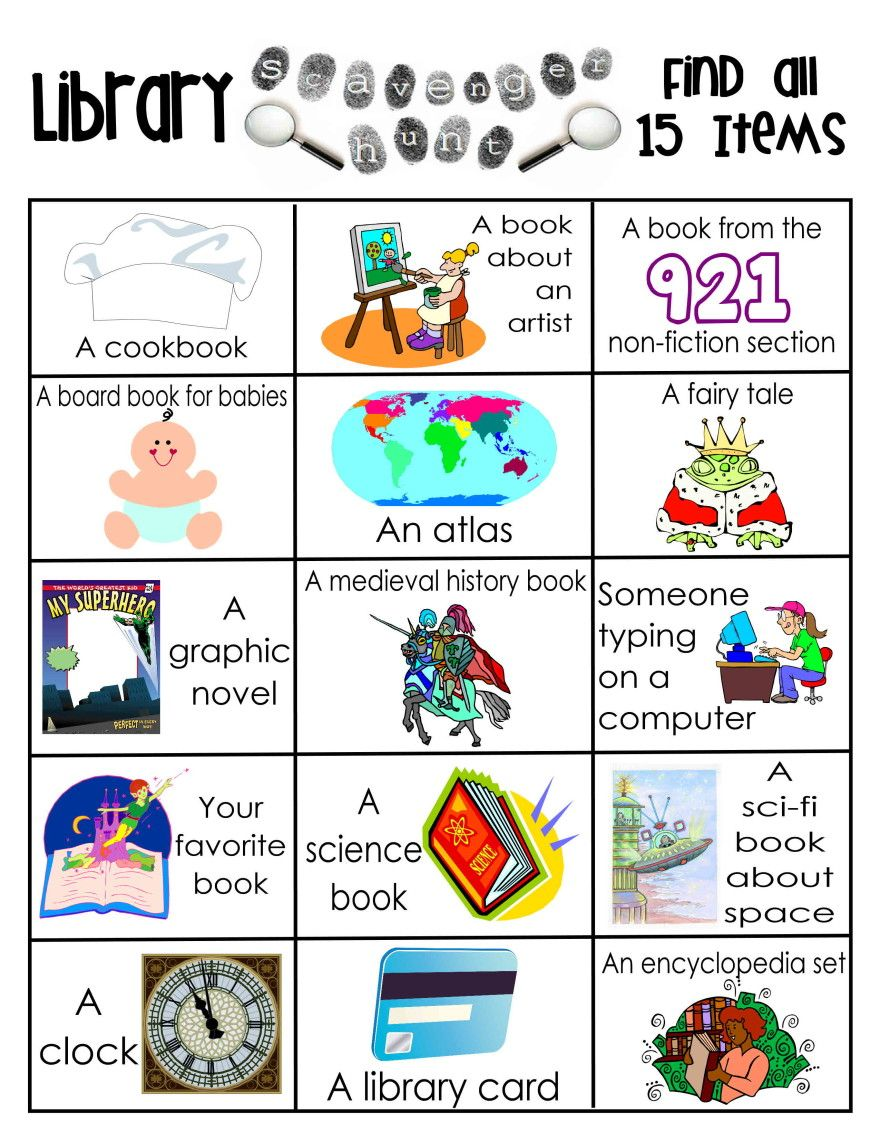 Library scavenger hunt free printable | Reading ...