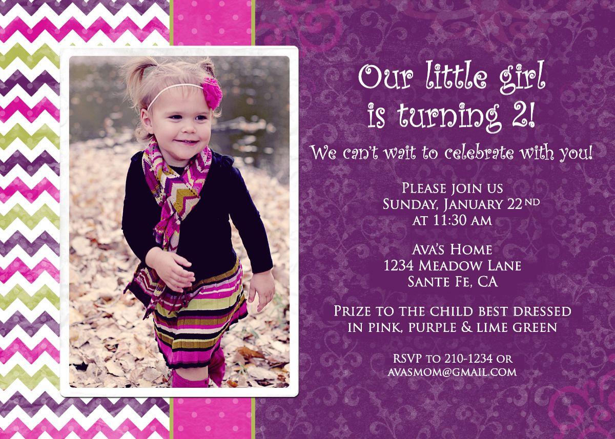 my daughters 2nd birthday invite don
