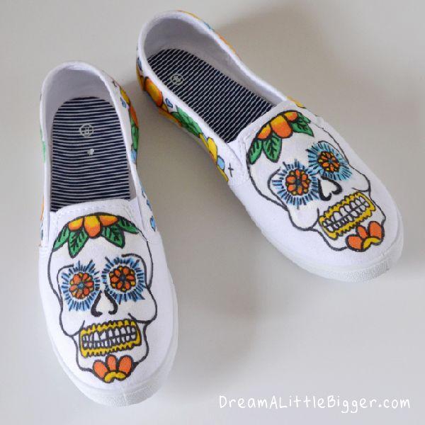 Sugar Skull Sneaker Tutorial at Pink Stripey Socks! - Dream a Little Bigger