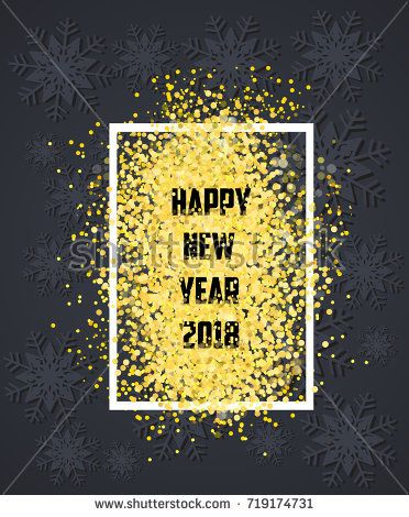 Happy new year Gold glitter 2018 Golden isolated on black
