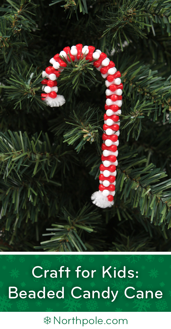 beaded candy cane ornament craft for kids northpole com craft cottage
