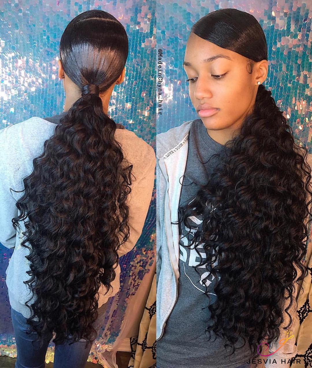 Beautiful Deep Wave Ponytail Deep Wave Hairstyles Black Ponytail Hairstyles Ponytail Styles