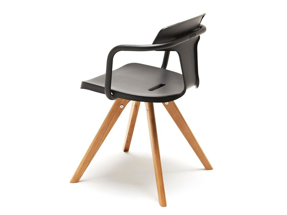 Stainless Steel And Wood Chair With Armrests T14 T Collection By Tolix Steel Design Design Patrick Norguet Wood Chair Chair Wood Chair Design