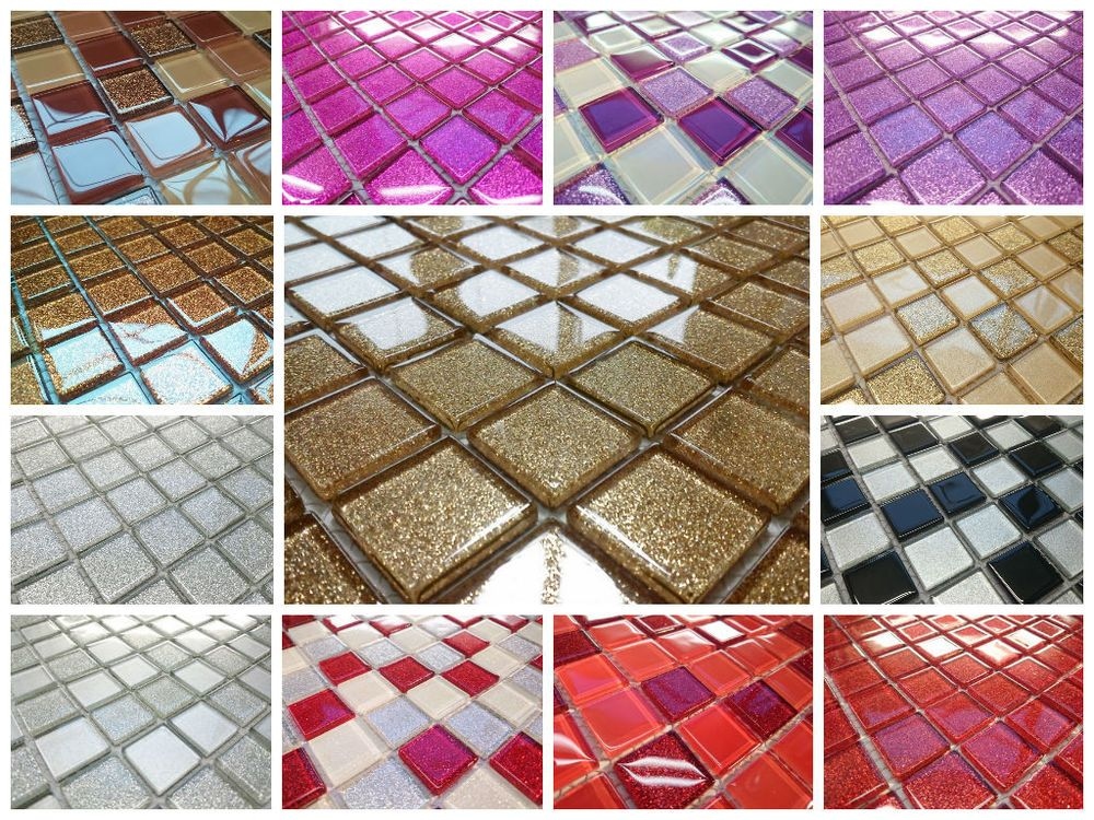 Best of LUXURY GLASS MOSAIC TILES GLITTER PURPLE GOLD BLACK SILVER RED WHITE BROWN PRIMAVERA New Design - Elegant black mosaic tile Pictures