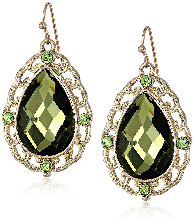 1928 Jewelry Jeweltone Greens Green Pear Drop Earrings