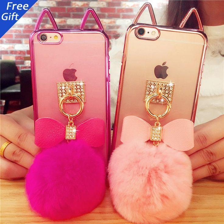 1ec809f87d Cute 3D Plating Cat Ear With Fur Ball Flip TPU Case Cover For iPhone 7  7plus 5 5s se 6 6s 6plus Transparent Silicon Phone Case