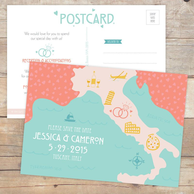 Save the Date Postcard Destination Wedding Map by DesignsByDylcia
