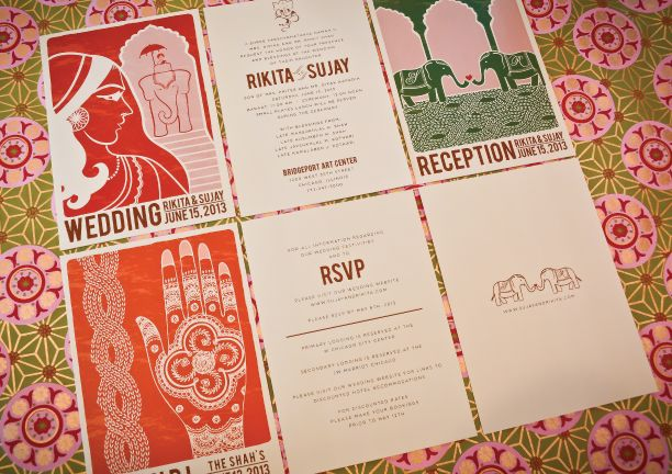 Modern vintage Indian wedding invitations by oliveandviolet