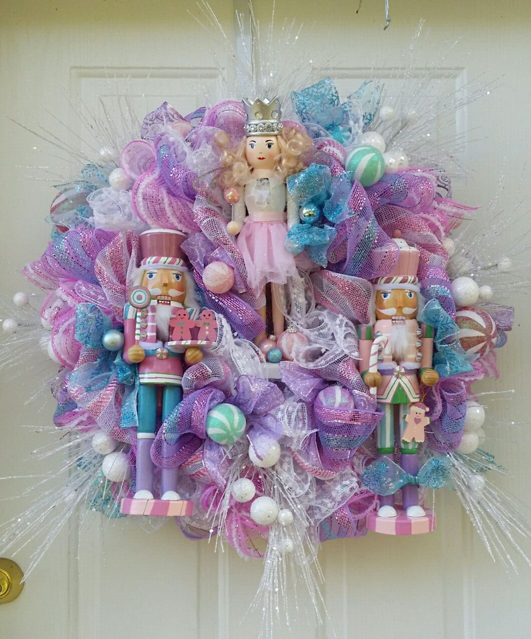 Nutcracker/Sugarplum Fairy Deco Mesh Wreath made by The Artful Diva Designs on Etsy and Facebook