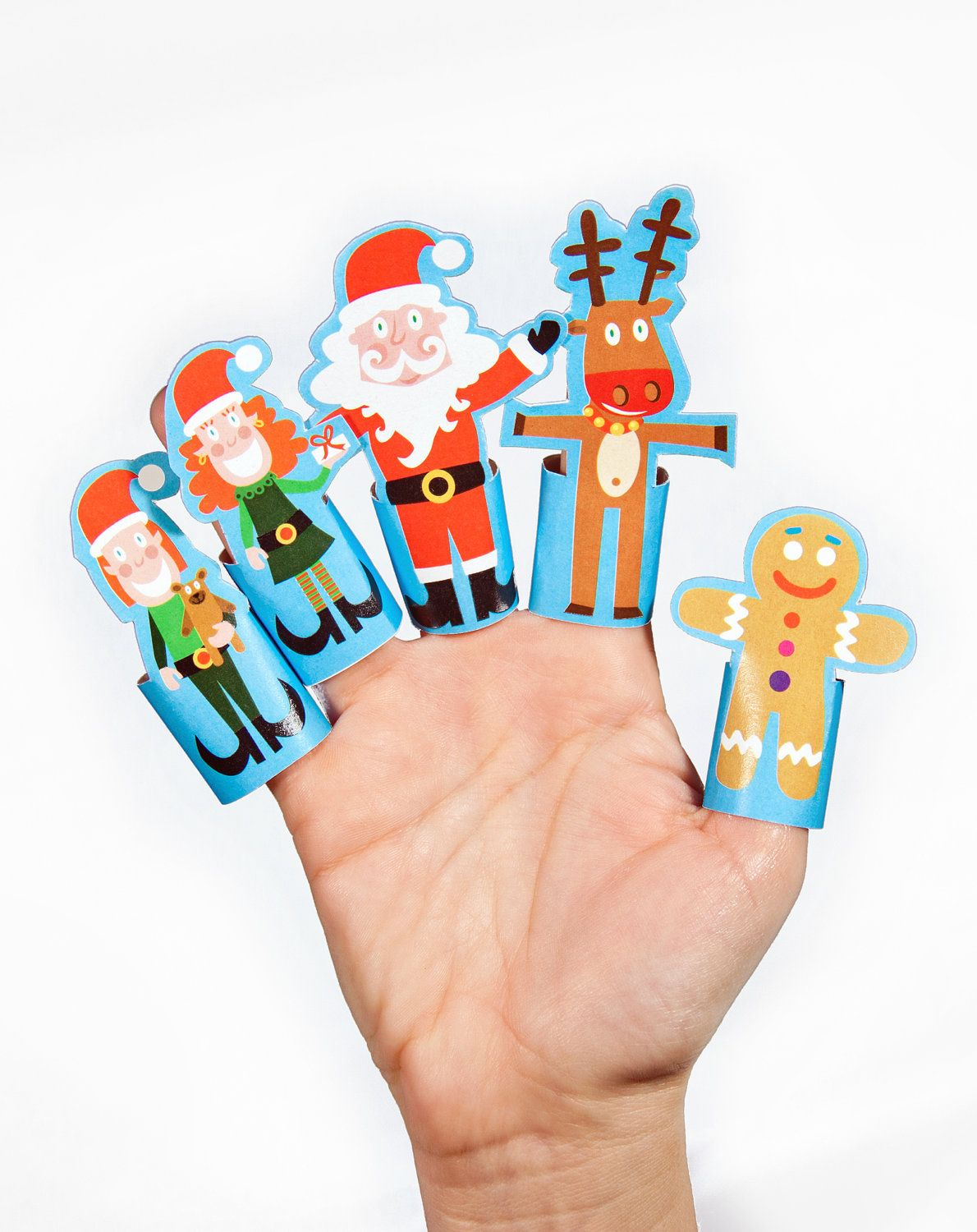 Christmas Paper Finger Puppets PRINTABLE PDF Toy DIY