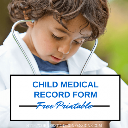 Child Medical Record Form Free Printable  Children S Free