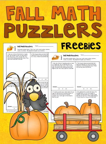 Free Fall Math Word Problem Puzzlers Pinterest
