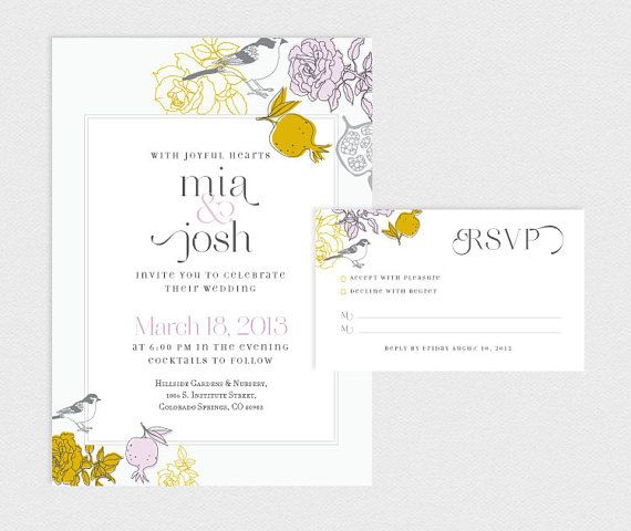 printable wedding invitation and rsvp card sun by goldfoxpaper