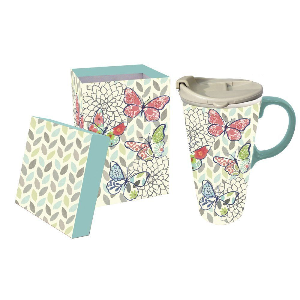Cypress Home Butterfly Pastels Ceramic Travel Coffee Mug 17 ounces