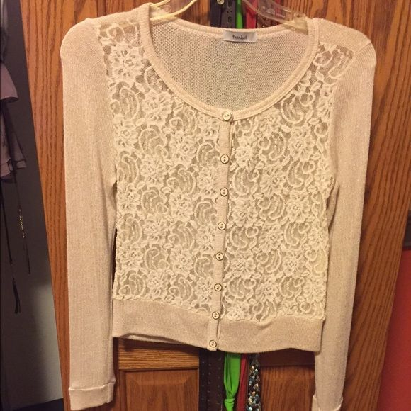 Lace button-up cardigan. See through, lace pattern, gold & ivory ...
