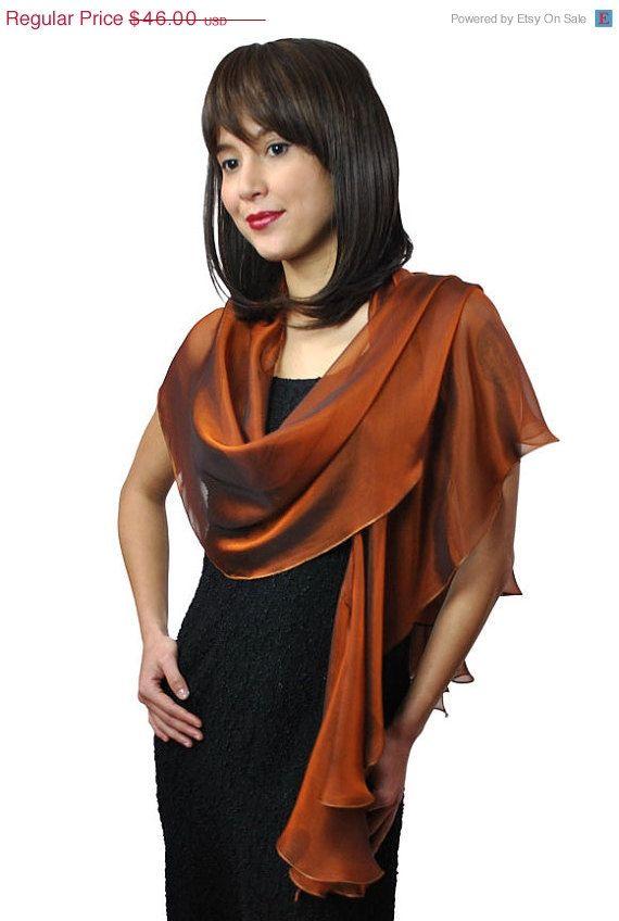 Evening Silk Chiffon Burnt Orange Scarf Wrap Etsy Silk Chiffon Orange Scarf Silk Chiffon Fabric