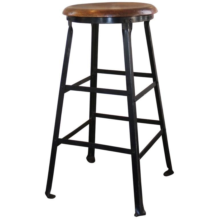Lovely Industrial Metal Bar Stools with Backs