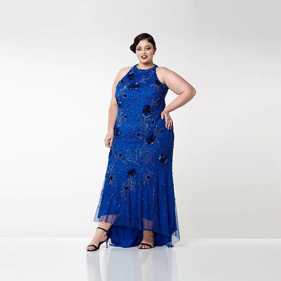 Plus Size Royal Blue Agnes High Low Gown Long Prom Maxi Formal Dress