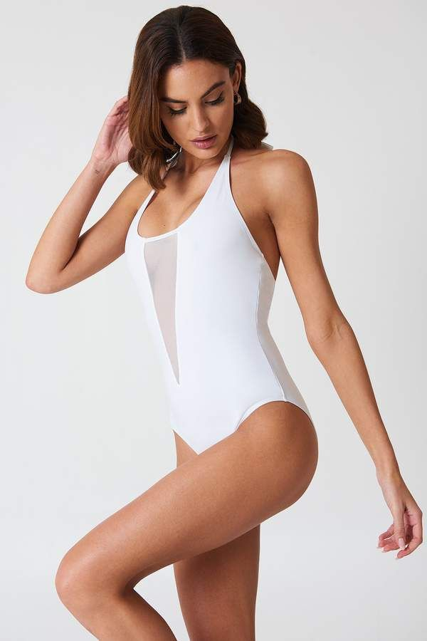 6d56eaca7871 Boohoo Kos Mesh Swimsuit Mesh Panel, White Swimsuit, Swimsuits, Swimwear,  Boohoo,