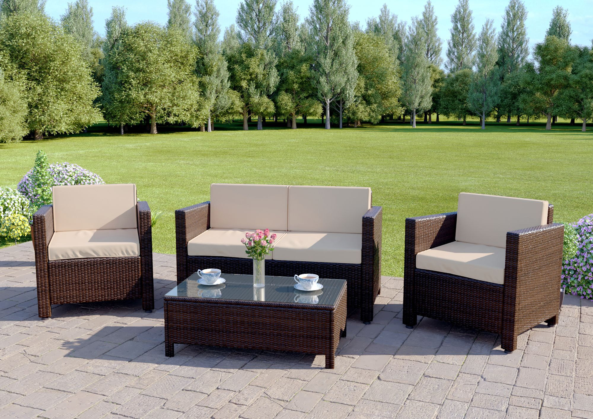 4 Piece Roma Rattan Sofa Set In Brown Includes Free Protective