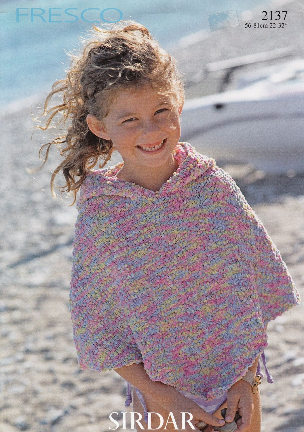 Girls Poncho w/Hood Knitting Pattern - Sirdar Fresco Poncho Knitting ...