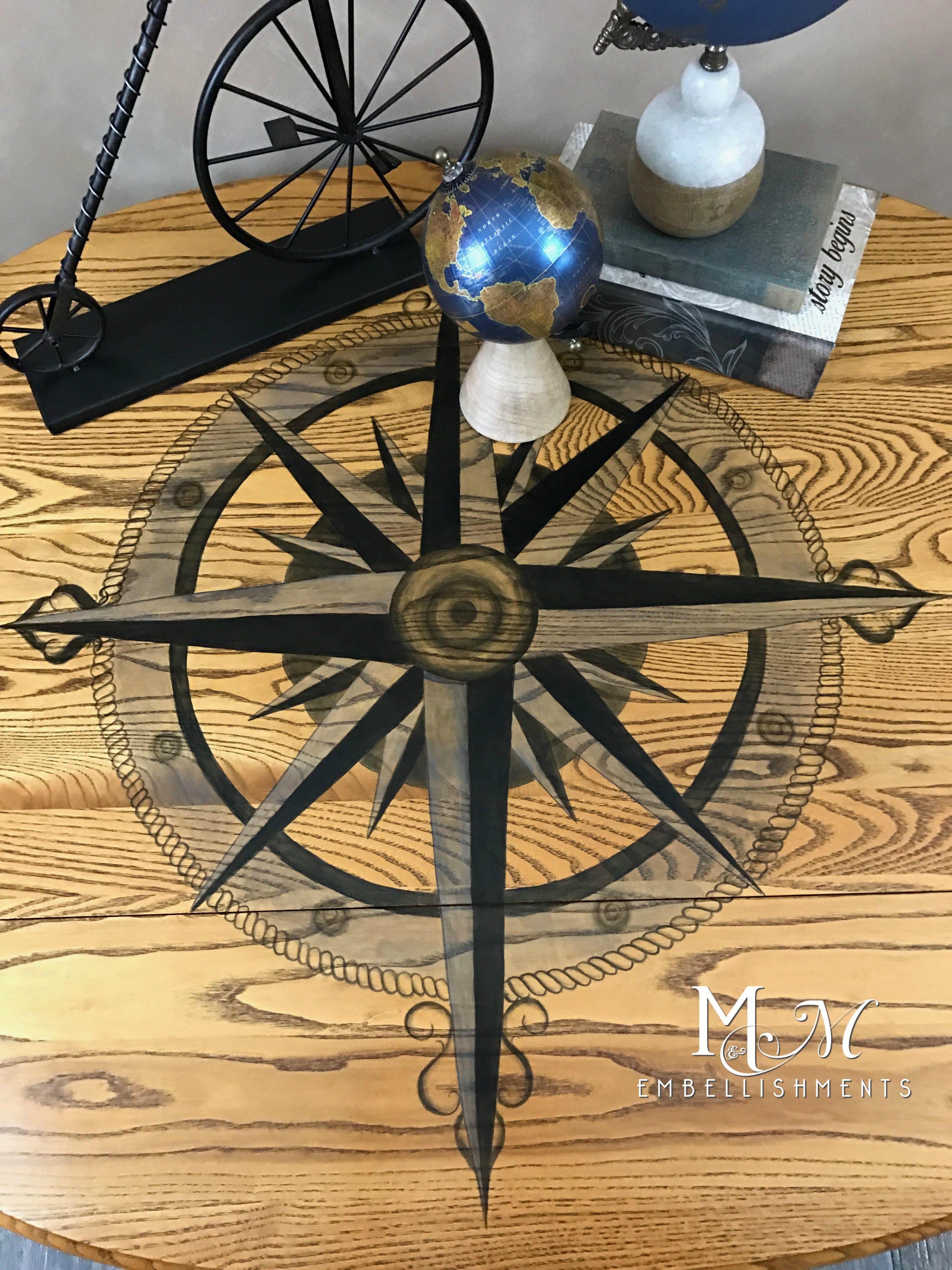 Boat Ceiling Fan Hand Stained Compass Rose Table Compass Rose Home Decor