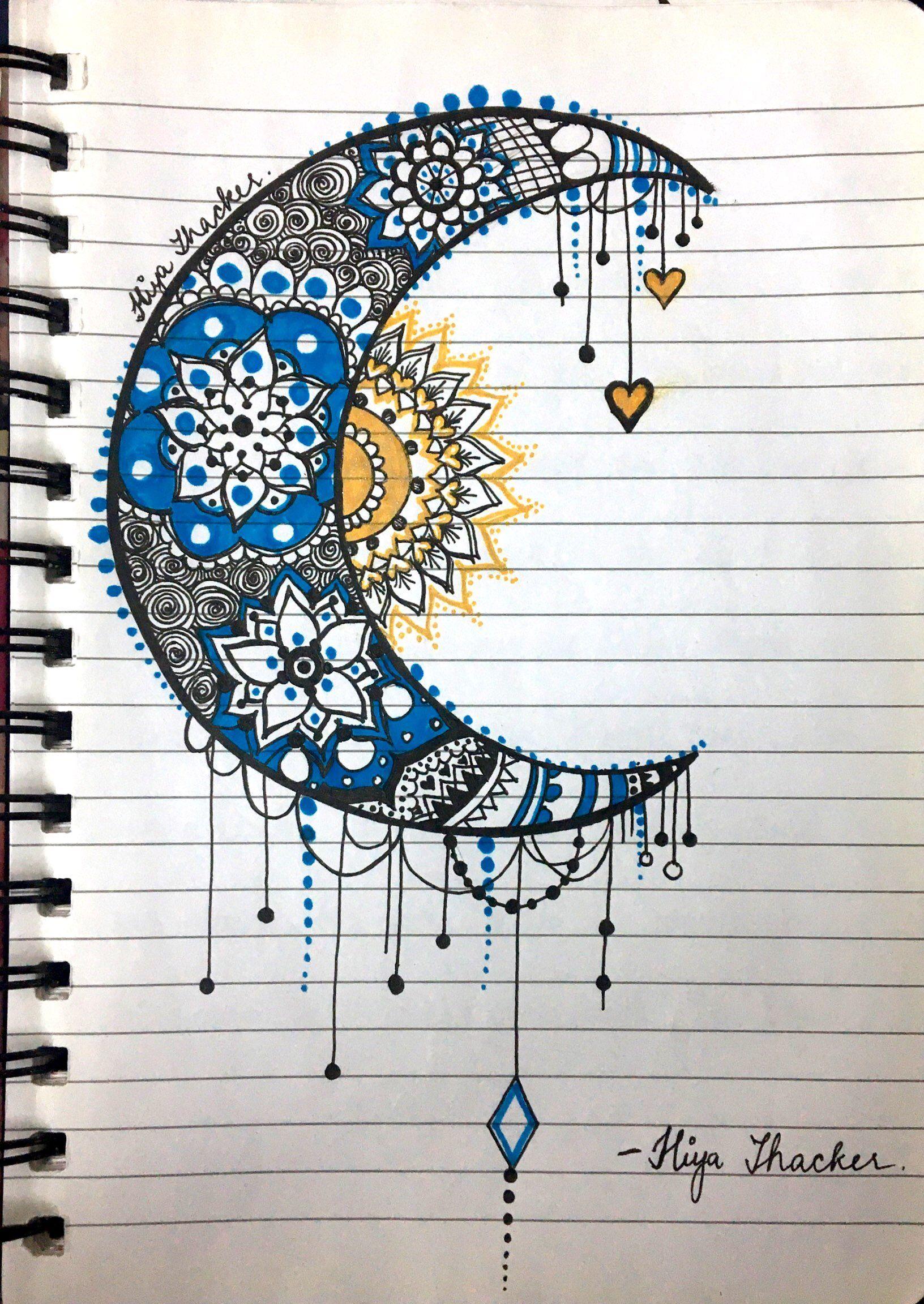 Moon sun mandala zentangle blue yellow My sketchbook in 2019