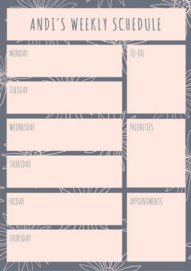 Gray and Pink Floral Weekly Schedule Planner customized planner