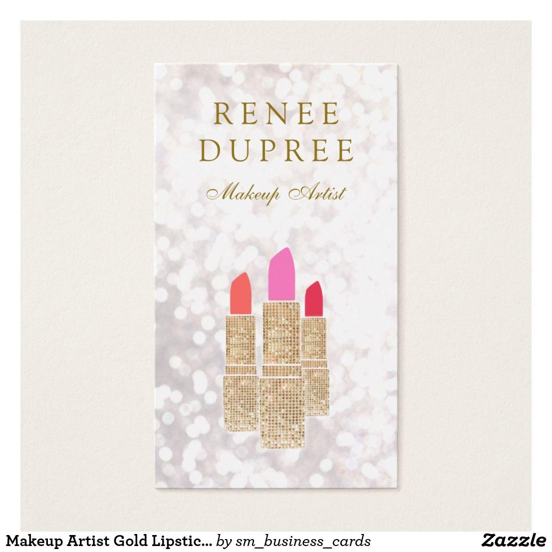 Makeup Artist Gold Lipstick Bokeh Beauty Business Card Beauty