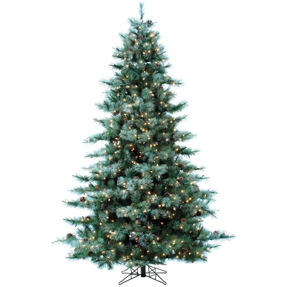 7.5 ft. Pre-lit LED Glistening Pine Artificial Christmas Tree with ...