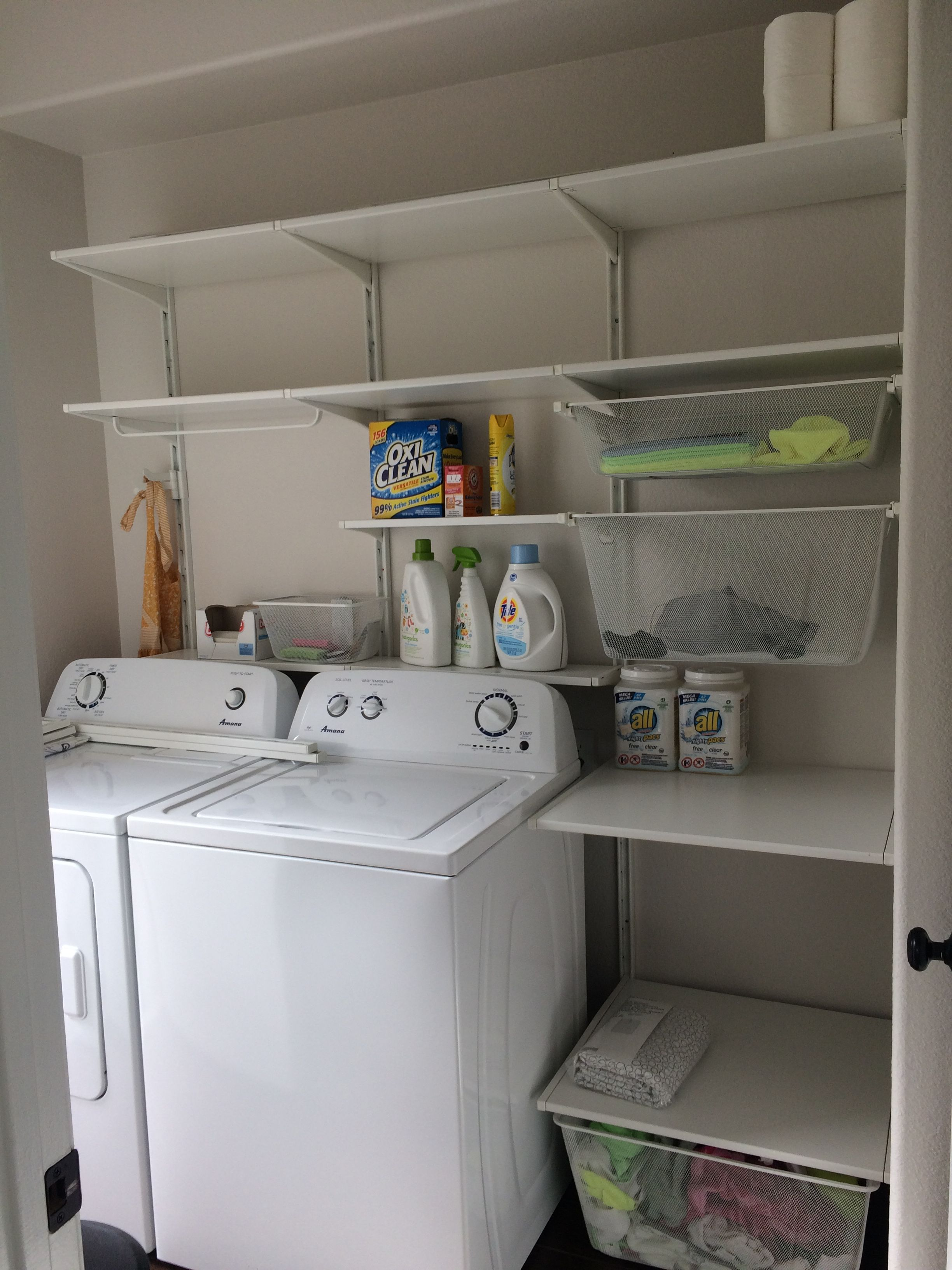 Customized Ikea Algot Laundry Room Even Has A Shelf Behind The