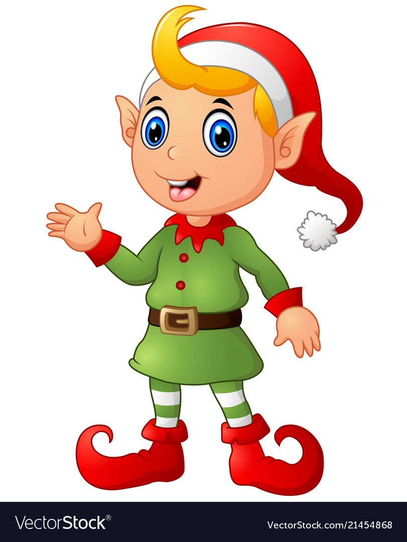 Cute christmas elf waving hands vector image on Elf