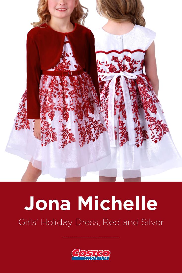 3deb9eb85e173 Jona Michelle Girls' Holiday Dress, Red and Silver | Costco Fashion ...