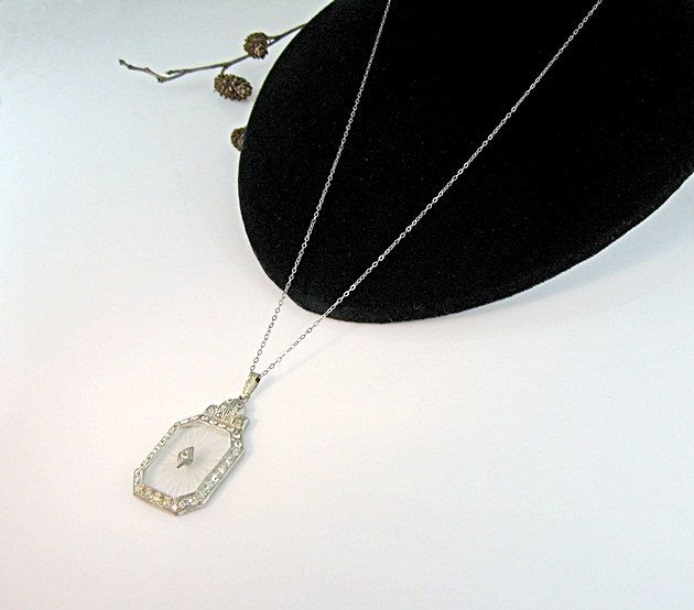 Art Deco Camphor Glass Pendant Necklace French Paste Brilliants Vintage 1920s Jewelry