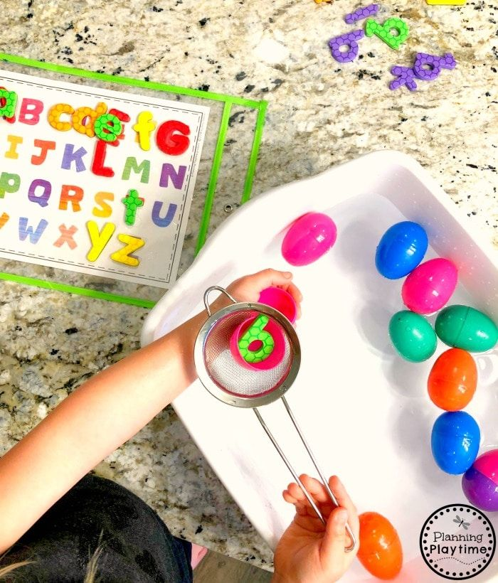 Preschool Letters Activity  Easter Sensory Bin