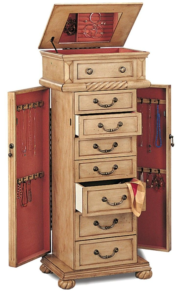 Furniture Extraordinary Vintage Corner Jewelry Armoire Design