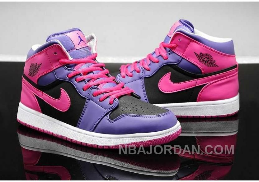 quality design 38edf 1137e NIKE AIR JORDAN 1 WOMENS 2014 PURPLE PINK BLACK SHOES TOP Only  84.00 ,  Free Shipping!
