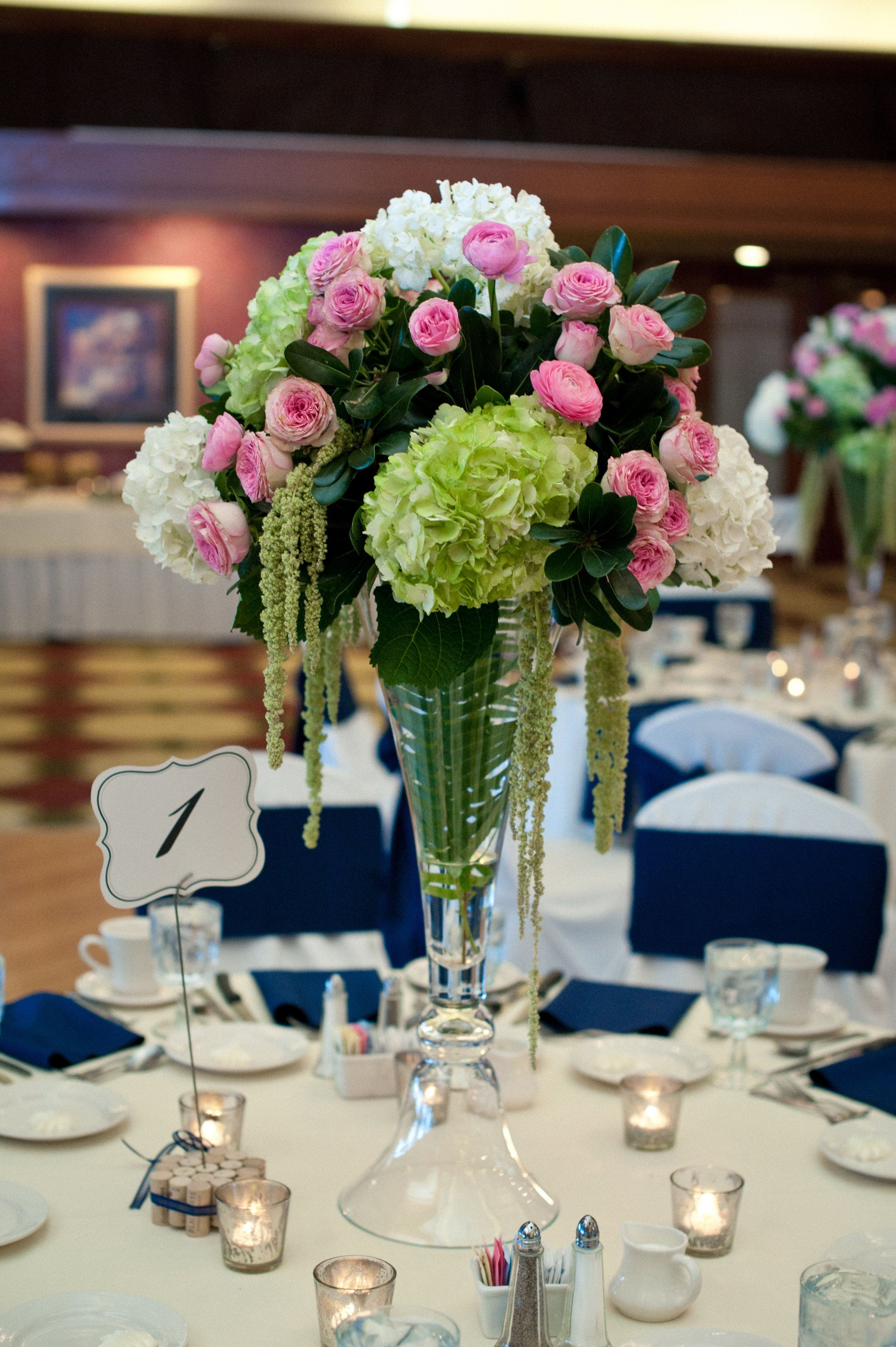 Tall wedding centerpieces green hydrangea pink garden