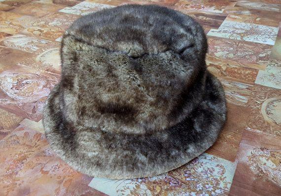 2651d2811e5 Faux Fur 90 s Bucket Hat   Dad Hat   Festival Gear   Vintage   Cruelty Free
