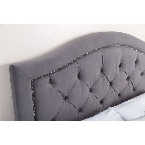Abbyson Living Hillsdale Tufted Grey Velvet Headboard (Eastern King ...