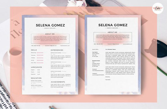 watercolor theme resume template by emaholic template on  graphicsauthor