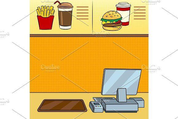 fast food restaurant pop art vector