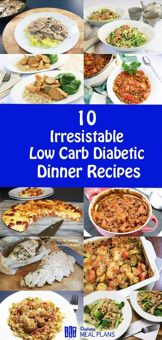 10 Low Carb Diabetic Dinner Recipes - YUM! #diabetesmanagement #diabetesmenu