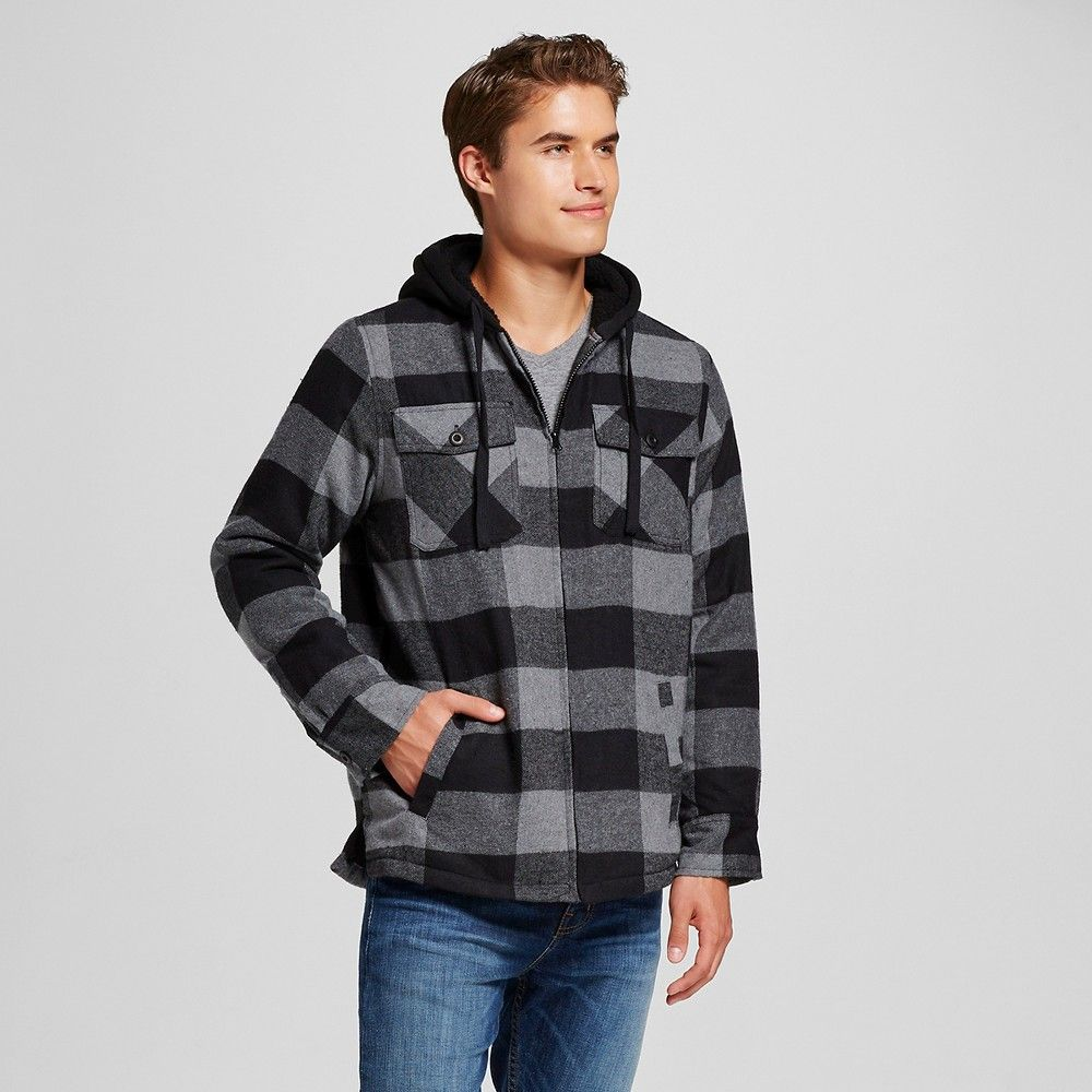 Flannel shirt black  Menus Quilted Sherpa Flannel Shirt Jacket Black Xxl  Burnside