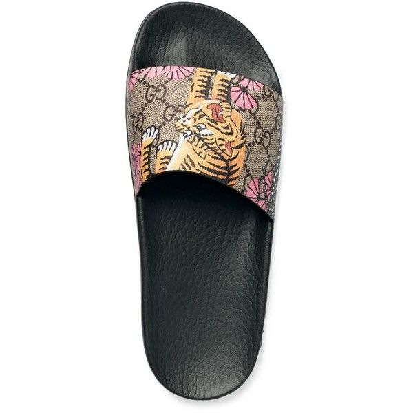 3cb41f172 Women's Gucci 'Pursuit' Slide Sandal ($290) ❤ liked on Polyvore featuring  shoes, sandals, flower pattern shoes, padded sandals, slide sandals, floral  print ...