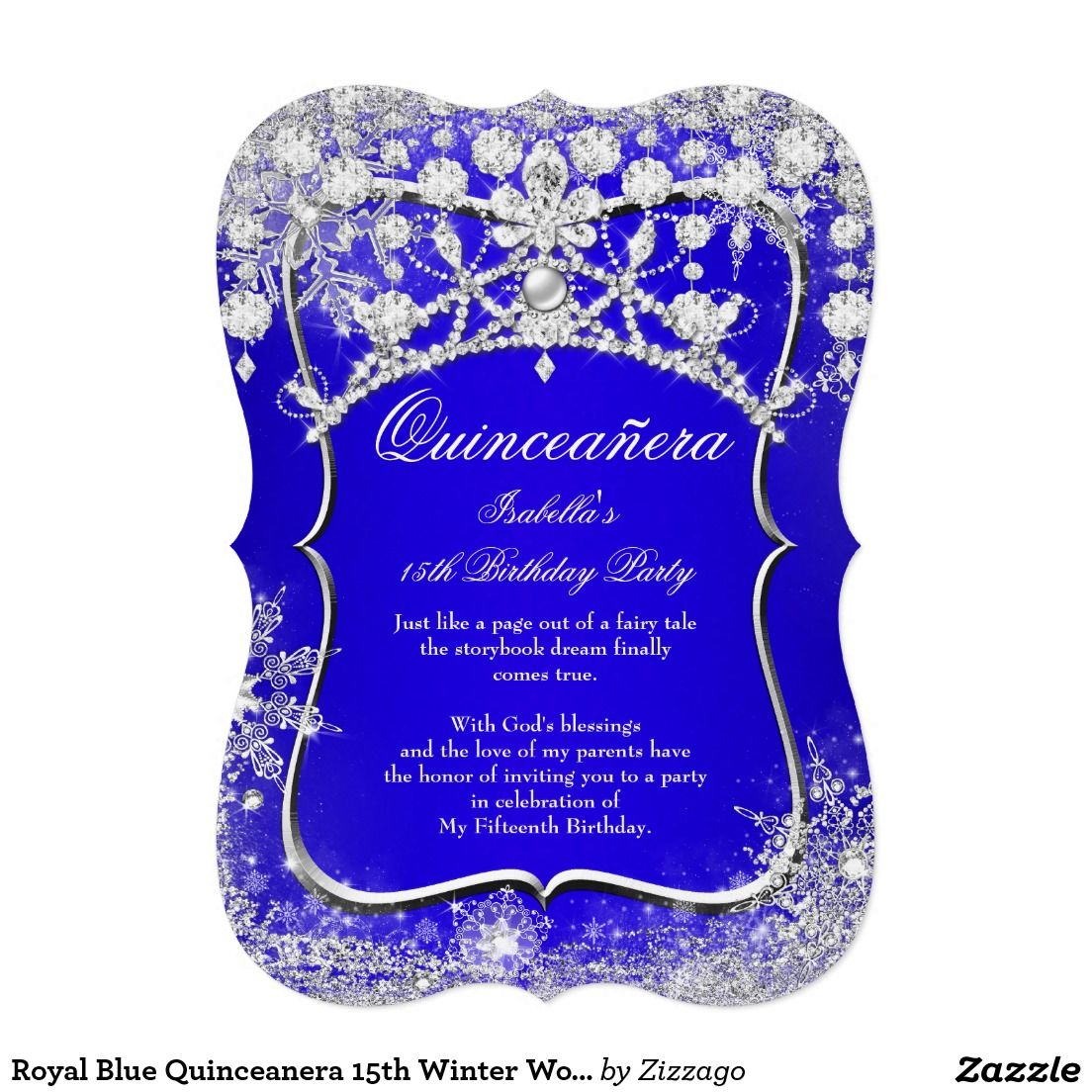 Royal Blue Quinceanera 15th Winter Wonderland Card Birthdays